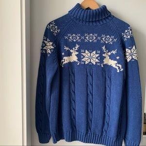 Lands End 1990's Vintage Reindeer Ski Sweater